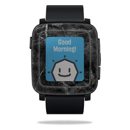 Skin Decal Wrap for Pebble Time Smart Watch cover sticker Black Marble
