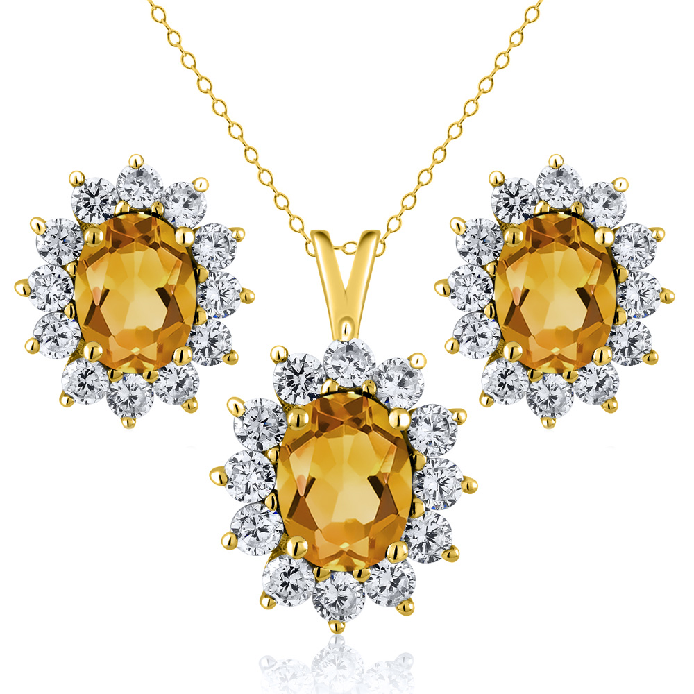 2.50 Ct Oval Yellow Citrine 18K Yellow Gold Plated Silver Pendant Earrings Set by