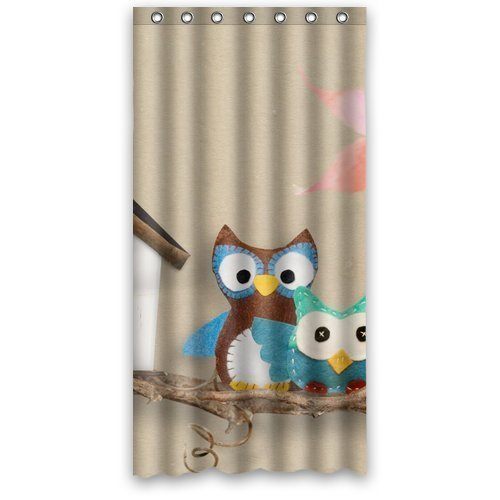 MOHome Cute Cartoon Pattern Owl Shower Curtain Waterproof Polyester Fabric  Shower Curtain Size 36x72 Inches