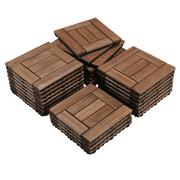 """SmileMart 27pcs Indoor & Outdoor Wood Flooring Tiles for Patio Garden, 12"""" x 12"""", Brown"""