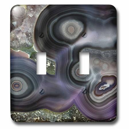 3dRose Purple Banded Agate, Quartzsite - Double Toggle Switch