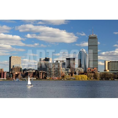 The Cityscape of Back Bay Boston, Massachusetts, USA from across the Charles River. Print Wall Art By SeanPavonePhoto