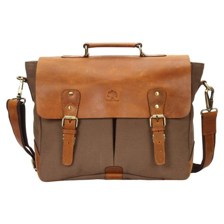 15 Inch Rustic Town Handmade Leather Canvas Vintage Crossbody Messenger Bag Gift Men Women Travel Work Carry Laptop Computer Books Sling Shoulder