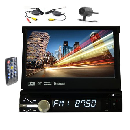 Wireless Backup Camera + EinCar 7'' inch Single-DIN in-dash Car DVD Player GPS Navigation Car Stereo System Mechless TFT/LCD Motorized Touchscreen Reaceiver with 8GB GPS Map Card and Bluetooth ()