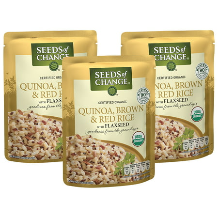 (3 Pack) SEEDS OF CHANGE Organic Quinoa, Brown & Red Rice, (Eden Organic Brown Rice)