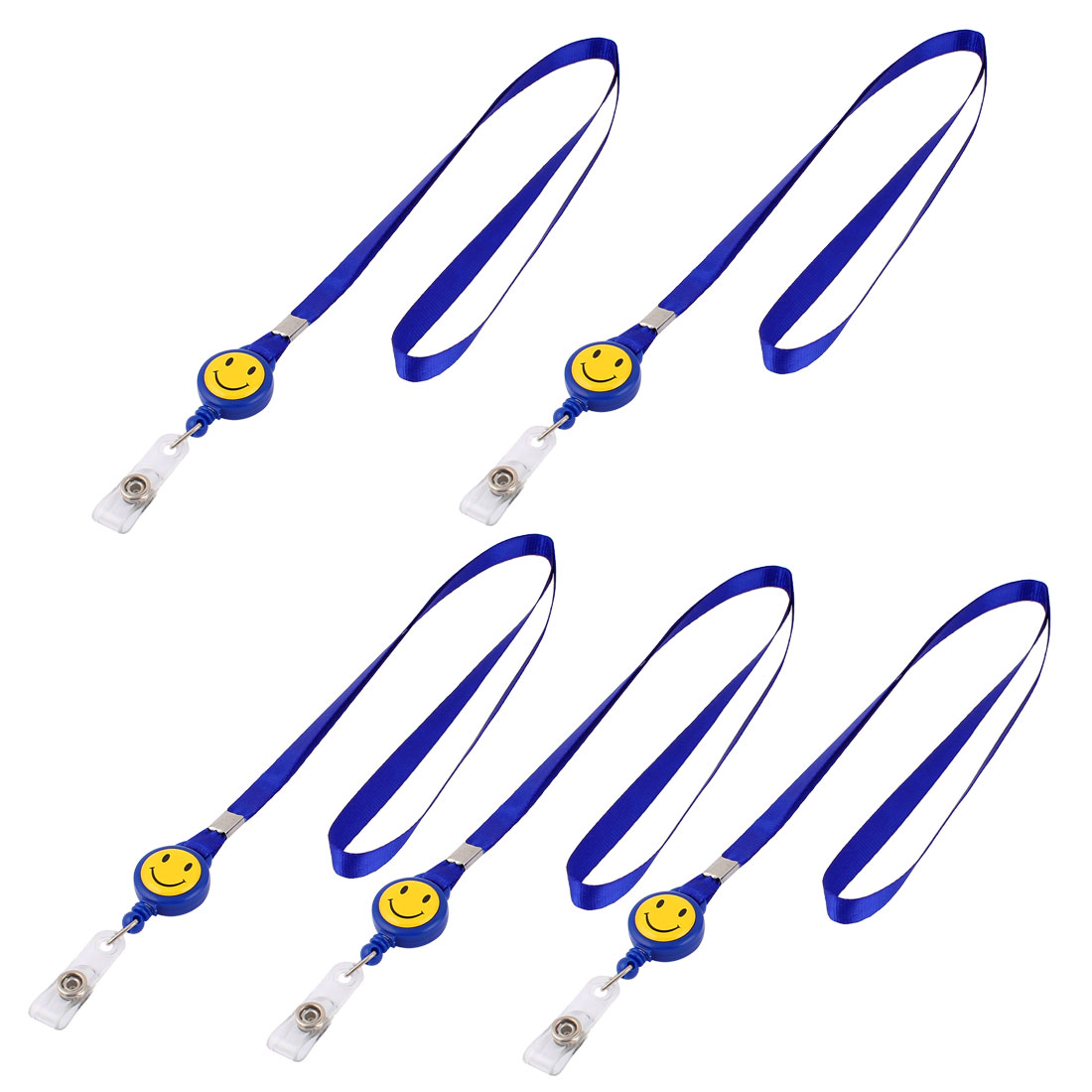 Smile Face Design Retractable Reel ID Card Lanyard Neck Strap 5 Pcs Blue