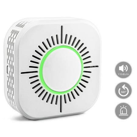 Safe T-beam Sensors - [ Support 3 Alarm Methods,High Sensitivity ] 433MHz Wireless Smoke Detector Fire Protection WiFi Home Safe Security Alarm Sensor - White