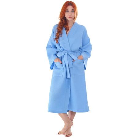 Simplicity Men/Women's 100% Cotton Waffle Weave White Spa Robe, Sky Blue