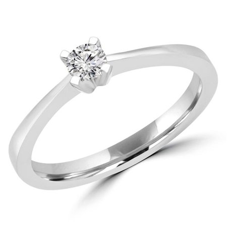 Majesty Diamonds MDR170051-3.75 0.16 CT Round Diamond Promise Solitaire Engagement Ring in 14K White Gold - 3.75 - image 1 de 1