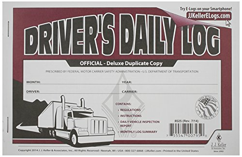 J.J. Keller 8525 Deluxe Driver's Daily Log Book with Detailed DVIR by J.J. Keller