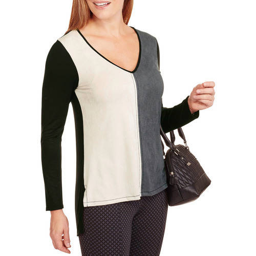 Select Clothing Always Grace Women's Suede Like V - Neck Long Sleeve T - Shirt