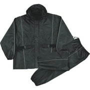 Milwaukee Leather - Mens Waterproof Rain Suit Reflective Piping / Heat Guard - Black - Size 2XL