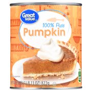 Great Value 100% Pure Pumpkin, 29 oz, 4 Pack