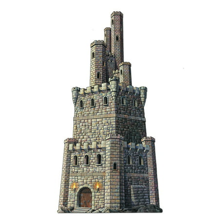 Club Pack of 12 Medieval Jointed Castle Tower Halloween Hanging Decorations 4' - Medieval Castle Decorations