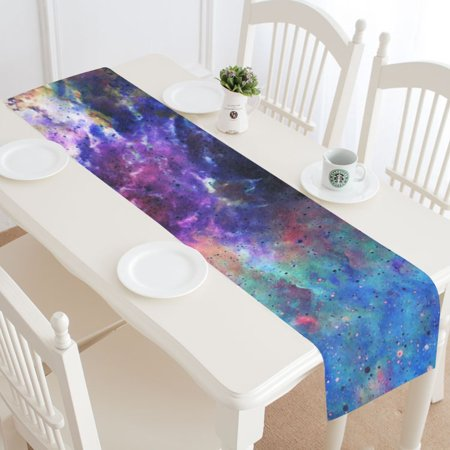 MKHERT Space And Stars Table Runner for Office Kitchen Dining Wedding Party Home Decor 14x72 inch