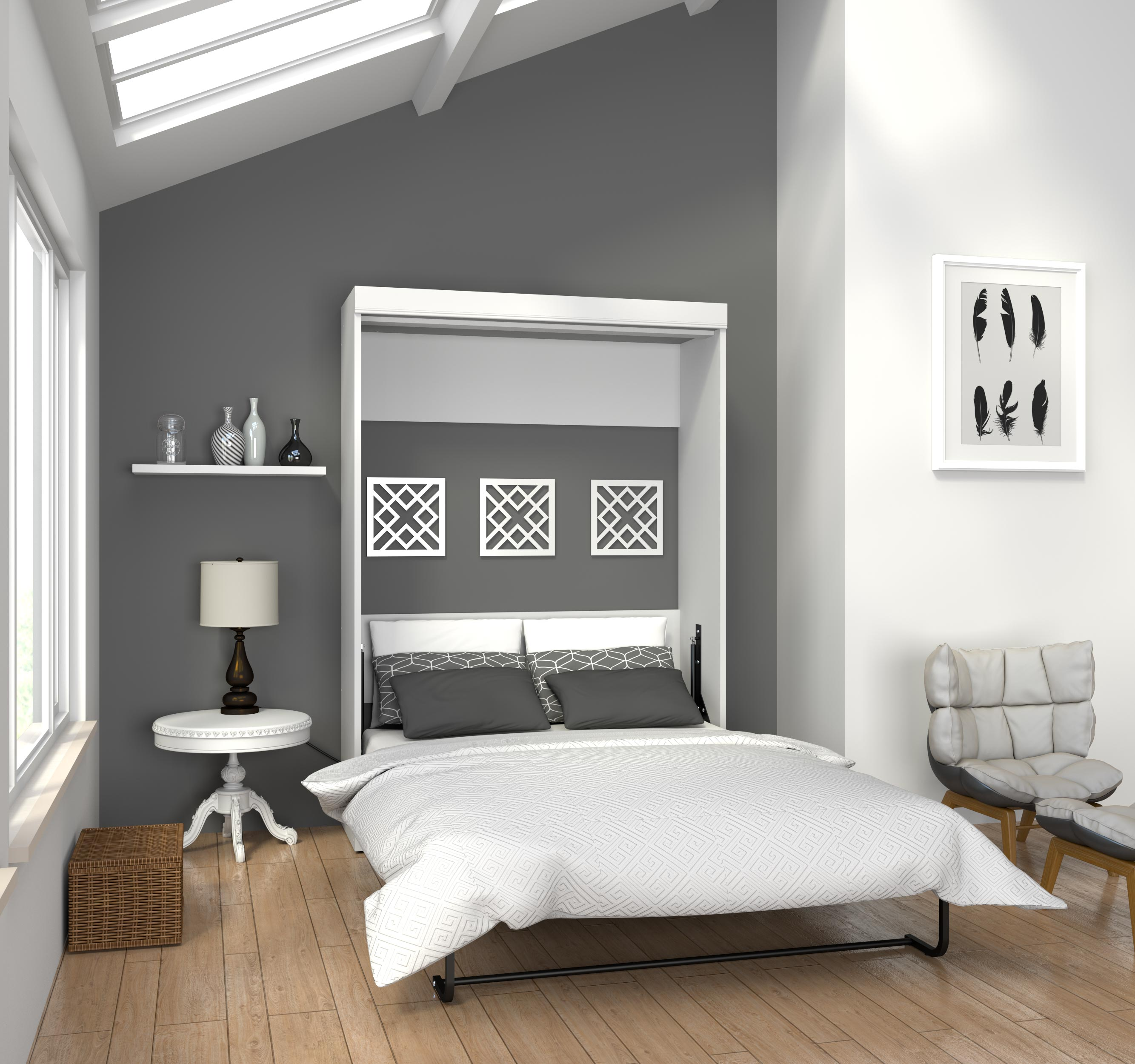 Edge by Bestar Full Wall bed in White