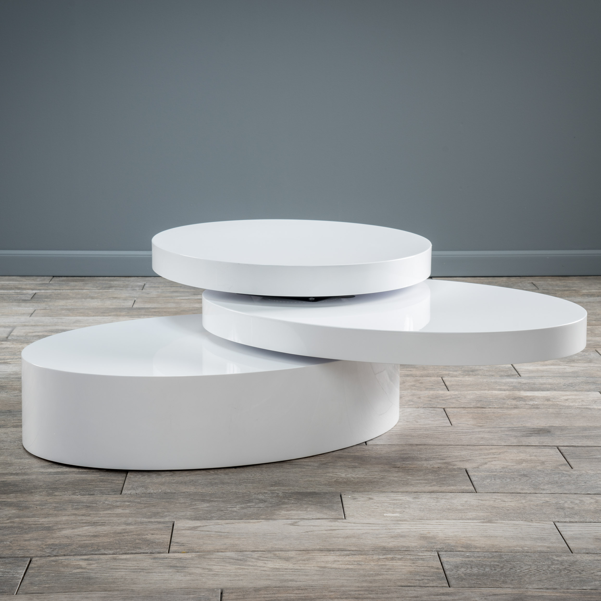 Noble House Small Oval Mod Rotatable Coffee Table