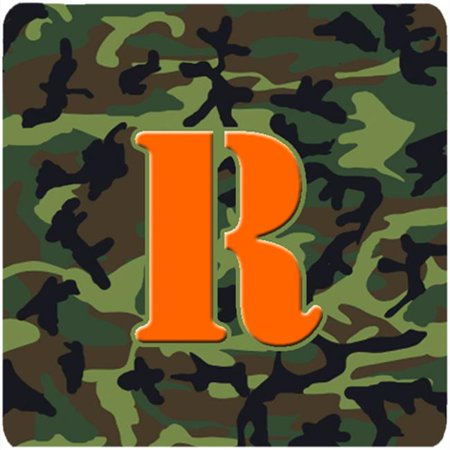 Monogram - Camo Green Foam Coasters, Initial Letter R - Set 4, 3.5 x 3.5 In. - image 1 de 1