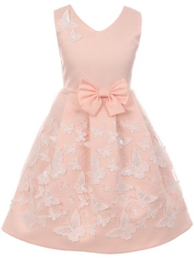 Little Girls Satin Butterfly Mesh Lace Ribbon Trim Holiday Party Easter Flower Girl Dress Blush 4 (J21KS12)