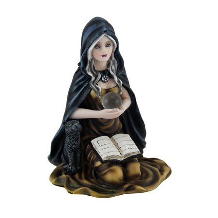 Kneeling Witch Holding Crystal Ball w/Black Cat Figurine (Witch With Crystal Ball)