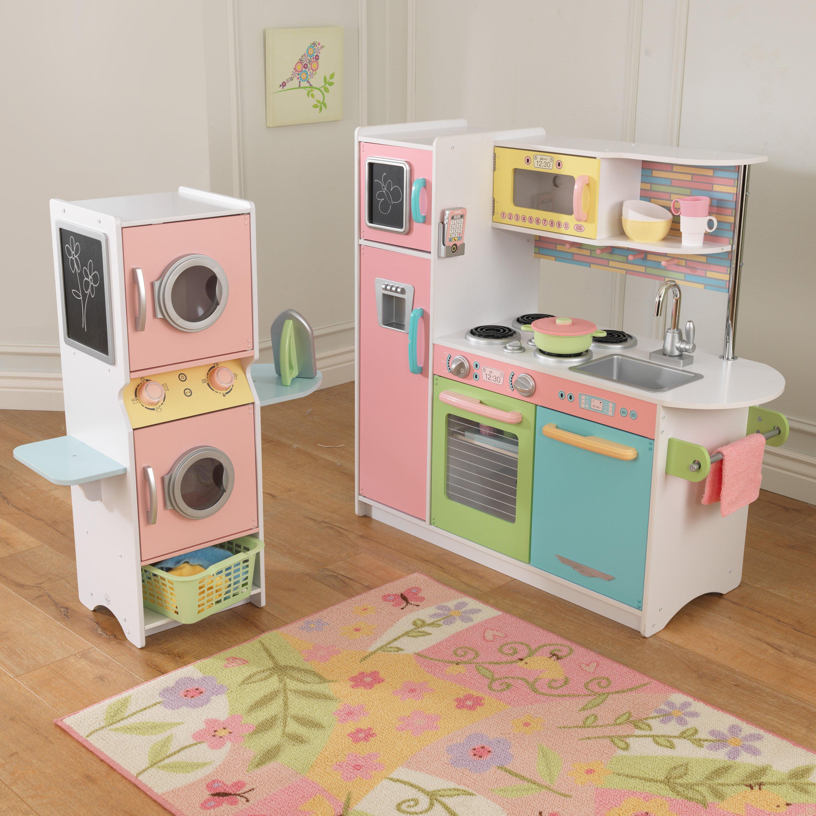 Kid Kraft Uptown Pastel Play Kitchen and Laundry Playset