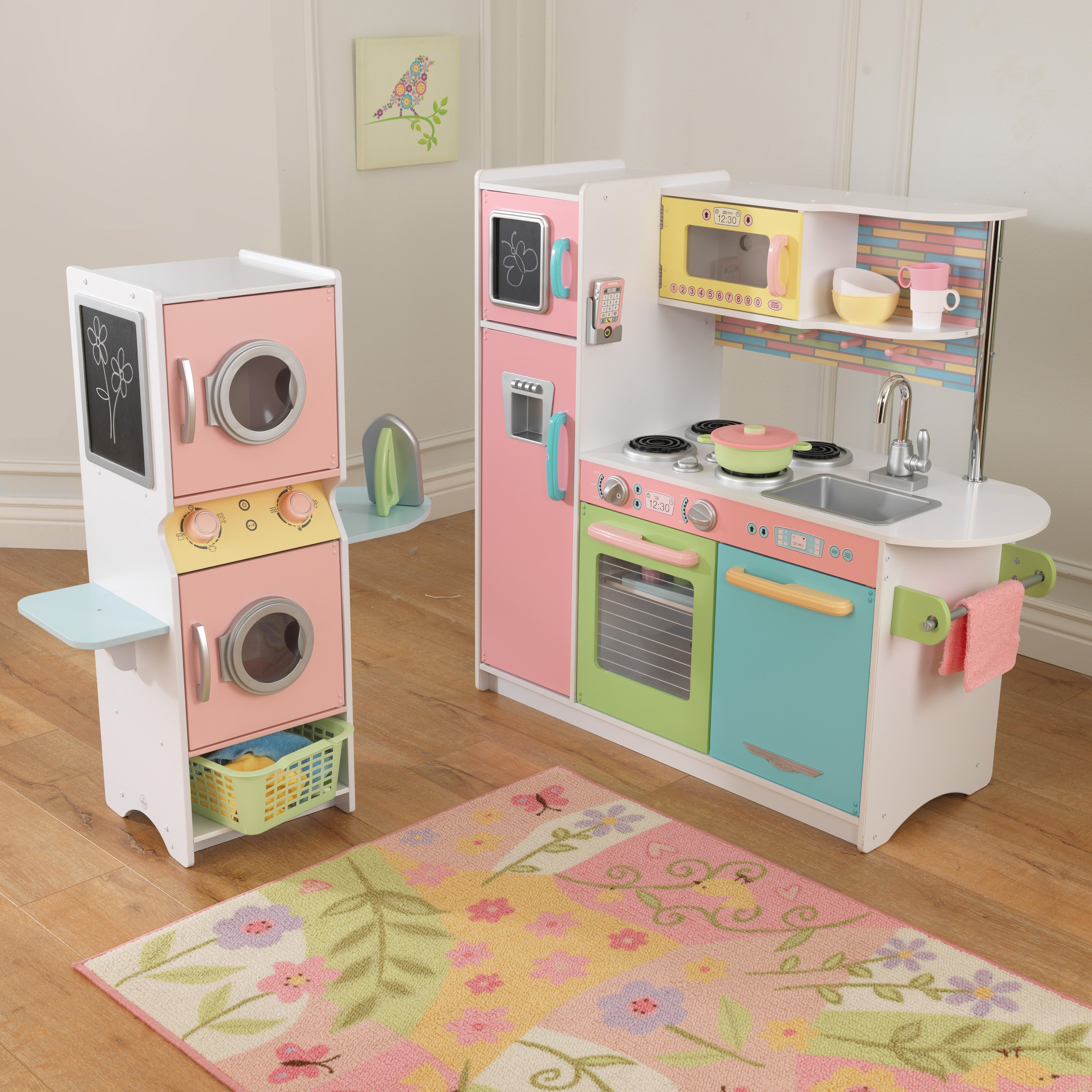 KidKraft Uptown Pastel Play Kitchen and Laundry Playset