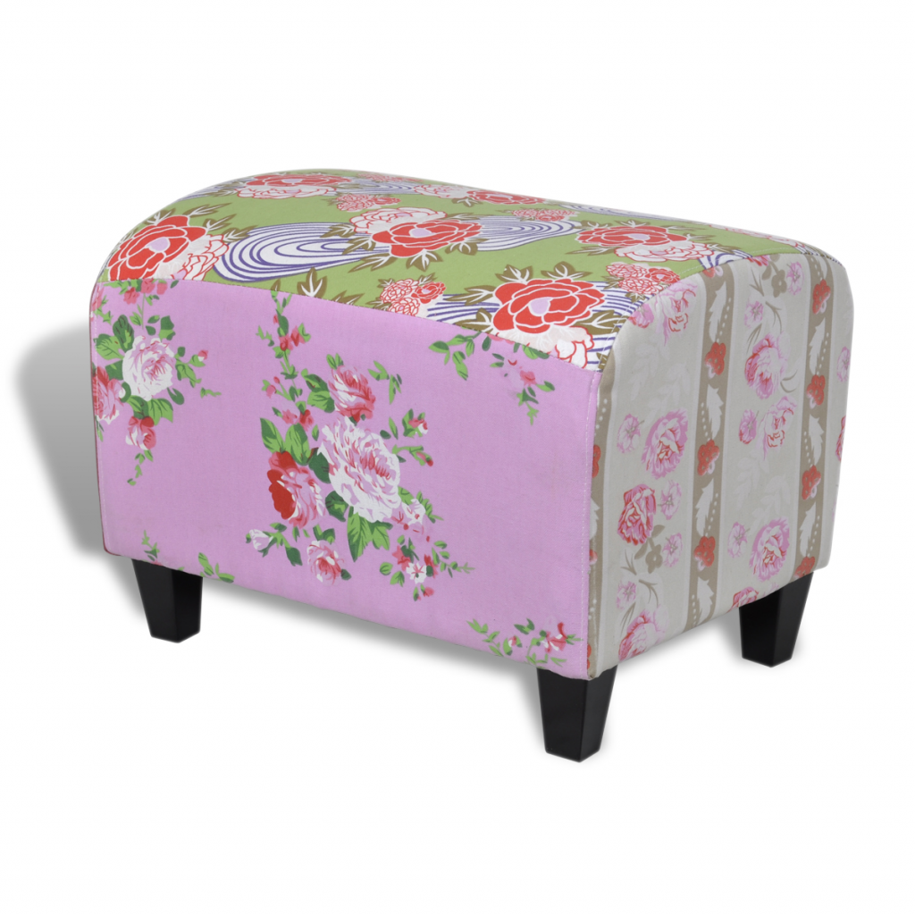 Anself Patchwork Footstool Floral Style by