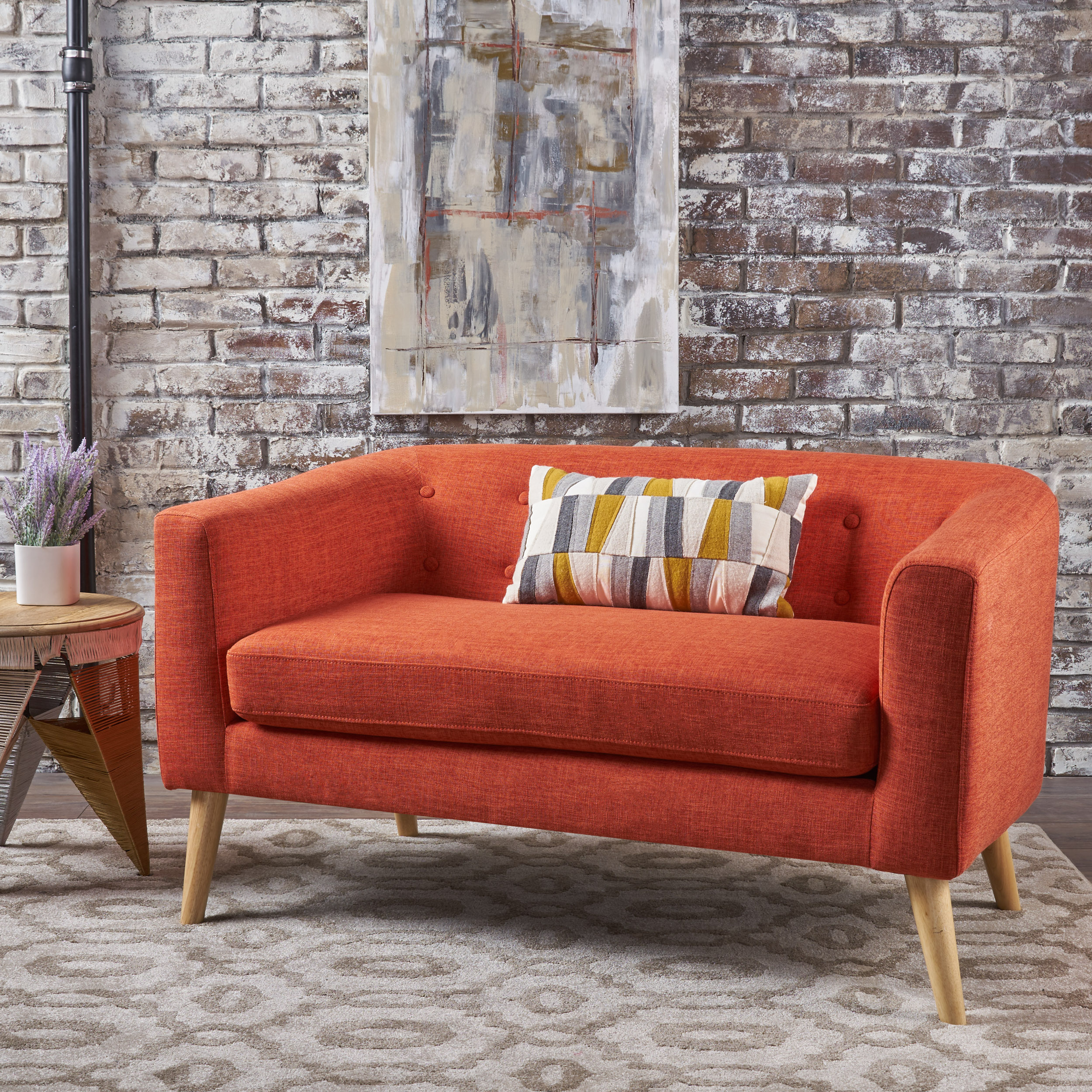 Noble House Bianca Fabric Mid Century Modern Loveseat,Orange