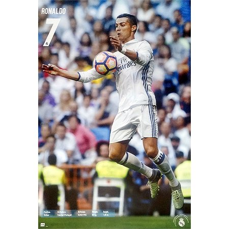 Real Madrid   Sports Poster   Print  Cristiano Ronaldo  7 In Action   Size  24  X 36