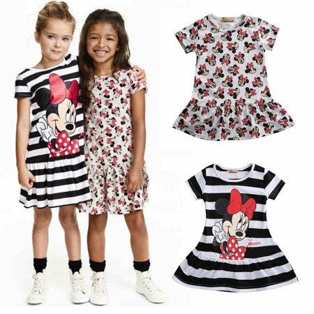 Infants Baby Girls Cartoon Summer Minnie Mouse Striped Short Sleeve Dress Outits - Minnie Mouse First Birthday Dress