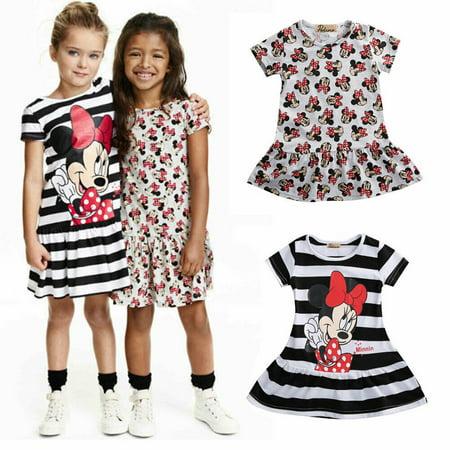 Infants Baby Girls Cartoon Summer Minnie Mouse Striped Short Sleeve Dress Outits](Female Cartoon Characters Fancy Dress Ideas)