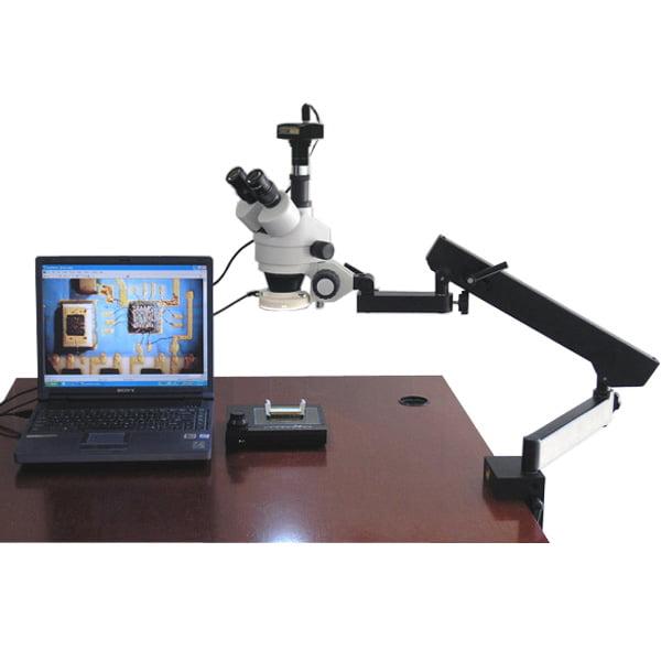 AmScope 3.5X-90X Articulating Zoom Microscope w Fluorescent Light + 5MP Digital Camera by United Scope