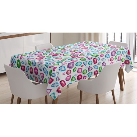 Diamond Decor Tablecloth, Heart and Geometrical Colorful Little Diamonds Precious Gemstones Crystals Pattern, Rectangular Table Cover for Dining Room Kitchen, 52 X 70 Inches, Multi, by