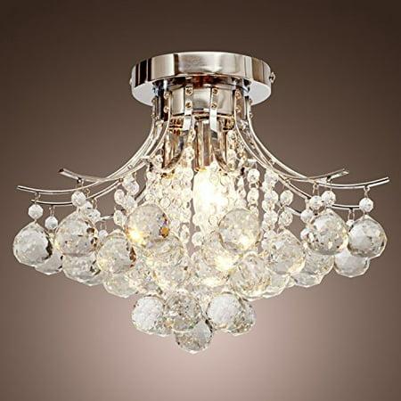 Saint Mossi Chandelier Modern K9 Crystal Raindrop Lighting Flush Mount Led Ceiling Light Fixture For