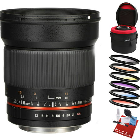 Rokinon 16mm f/2.0 ED AS UMC CS Lens for Canon EF-S Mount with Heavy Duty Lens Case and Creative Filter Kit