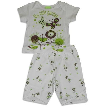 Snopea - Baby Girls Short Sleeve Capri Pant Set GREEN / 9 Months
