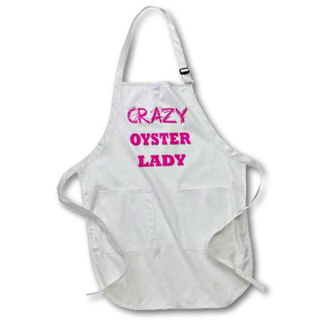 3dRose Crazy Oyster Lady, Full Length Apron, 22 by 30-inch, Black, With Pockets