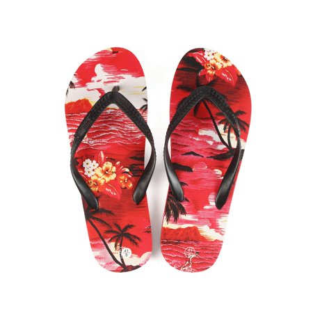 Hawaiian Print Sunset Beach Palm Hibiscus Wave Women Flip Flops Sandals in Red Sunset Size 7