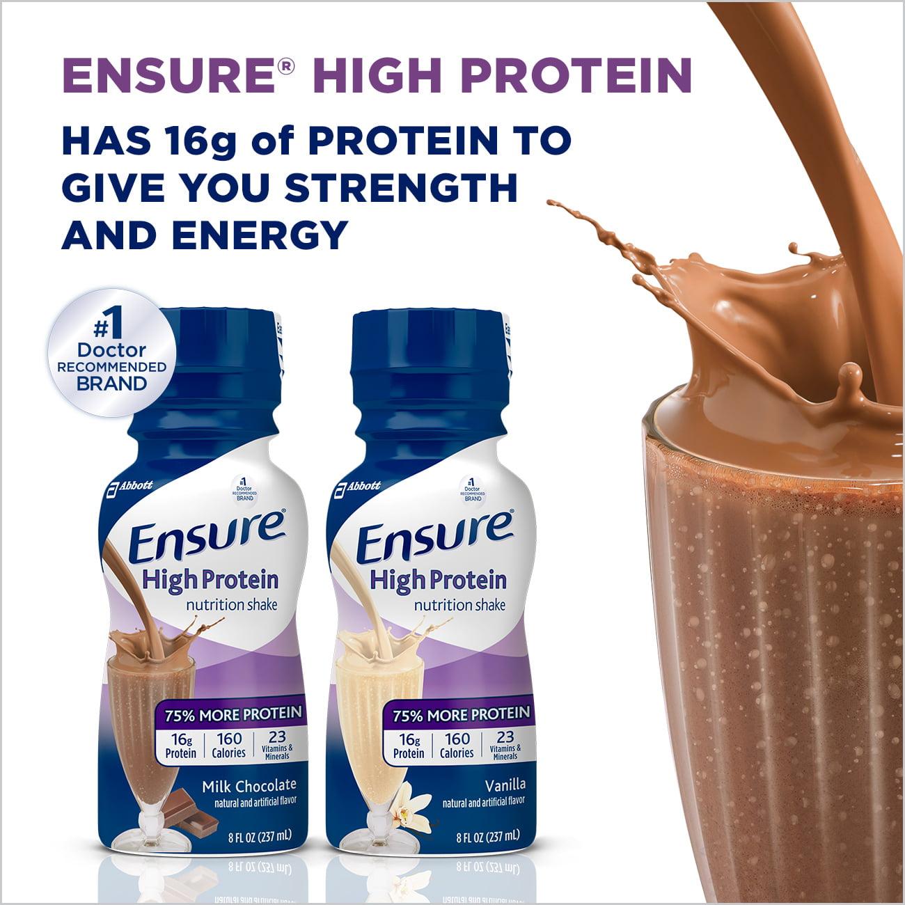 Ensure High Protein Nutrition Shake, Milk Chocolate, 8 fl oz (Pack ...
