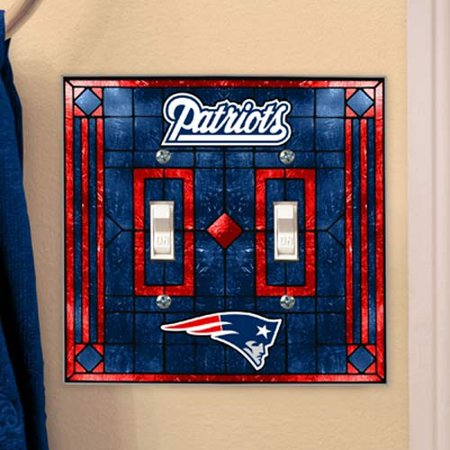 New England Patriots Art-Glass Double Switch Plate Cover - No Size - New England Patriots Plates