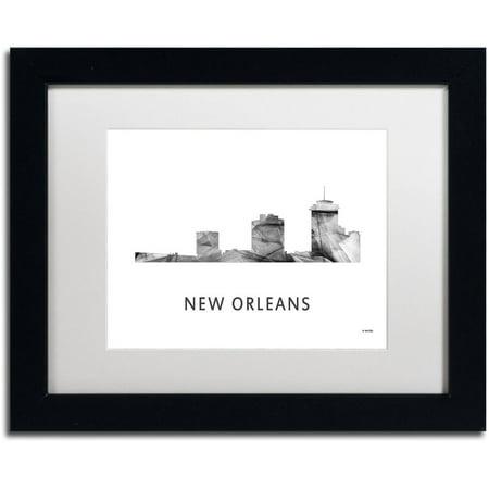 Trademark Fine Art 'New Orleans LA Skyline WB-BW' Canvas Art by Marlene  Watson, White Matte, Black Frame