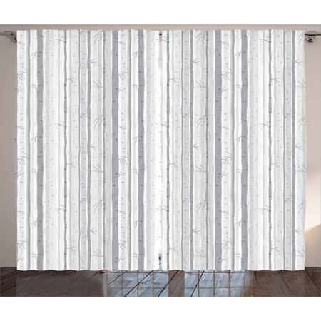Birch Tree Curtains (Grey and White Curtains 2 Panels Set, Birch Tree Grove Leafless Branches Winter Woodland Illustration, Window Drapes for Living Room Bedroom, 108W X 63L Inches, Grey Pale Grey White, by)
