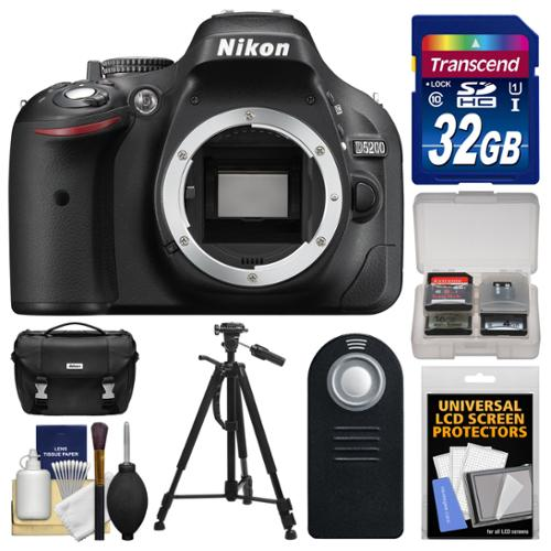 Nikon D5200 Digital SLR Camera Body (Black) - Factory Refurbished with 32GB Card + Case + Tripod + Remote + Accessory Kit
