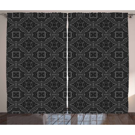 Dark Grey Curtains 2 Panels Set, Baroque Venetian Flower Motifs Medieval Ornate Mosaic Gothic Design Elements, Window Drapes for Living Room Bedroom, 108W X 84L Inches, Black Grey, by Ambesonne