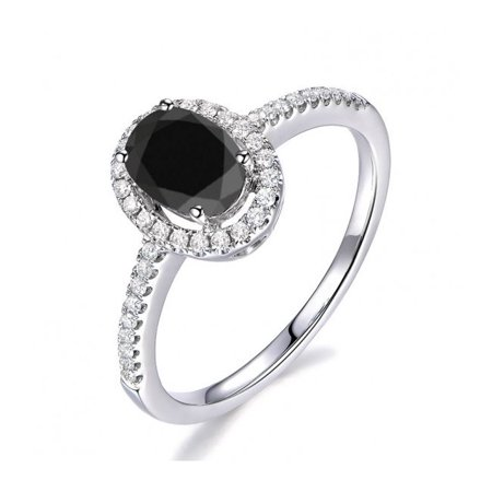 Antique Halo 1.25 Carat Black Diamond Engagement Ring in 10k White Gold for Women