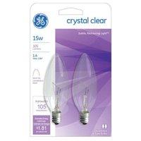 G E LIGHTING 87840 Blunt Tip Candelabra Bulb, 15W/120V, 2-Pack