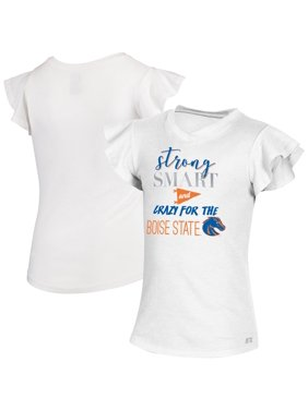 Boise State Broncos Russell Athletic Girls Youth Ruffle Sleeve V-Neck T-Shirt - White