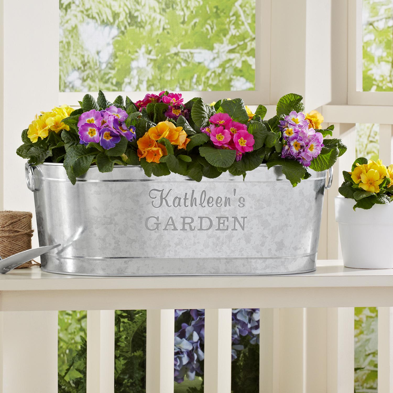 Personalized Galvanized Planter Tub