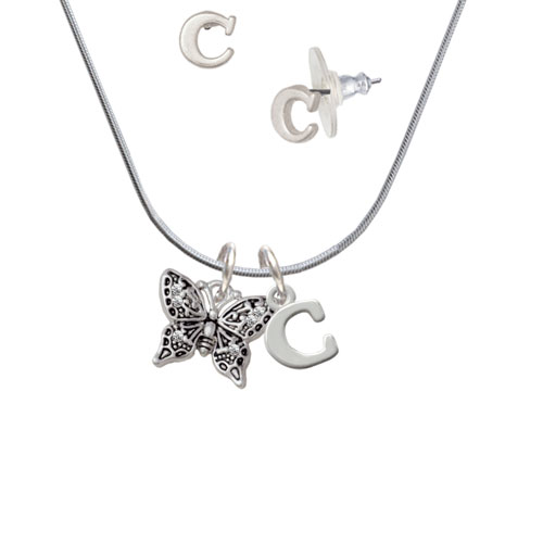 Small Antiqued Crystal Butterfly - C Initial Charm Necklace and Stud Earrings Jewelry Set
