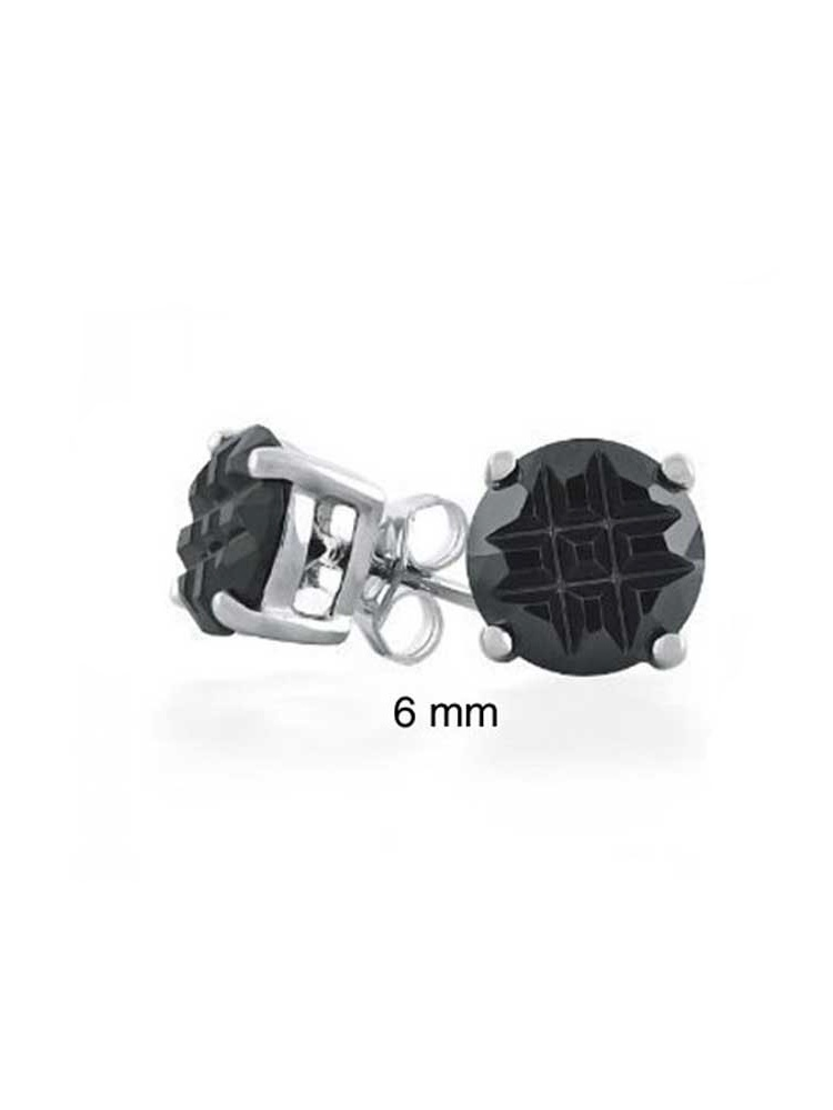 Black Checkerboard Invisible Cut Unisex Round Solitaire Stud Earrings Cubic Zirconia CZ 925 Sterling Silver
